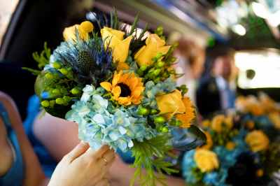 Blue, Yellow Green Bridesmaid Bouquet