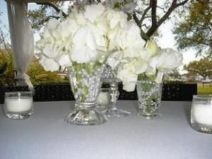 Wedding Flowers In Vintage Glass