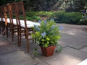 Garden Pew Markers For Outdoor Wedding