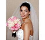 Bride with Cotton Candy Pink & Ivory Rose Wedding Bouquet