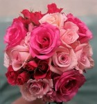 Coral and Fuchsia Pink Wedding Bouquet