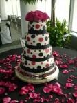 Pink & Black Polka Dotted Wedding Cake