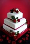 Red & White Fondant Wedding Cake