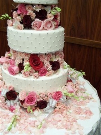 floral tiered cake. Rose Tiered Wedding Cake