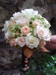 Pink Rose Bud & Ivory Wedding Bouquet