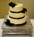 Buttercream Wedding Cake with Scarlet Ribbon