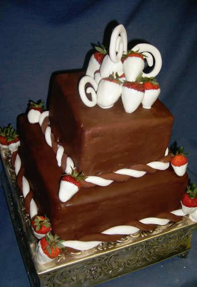 White Chocolate Strawberries Wedding Cake Located in the Homewood AL