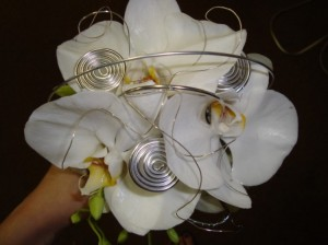 Orchid Wedding Bouquet With Silver Wire