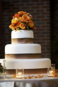 3 Tiered Wedding Cake With Fall Hues