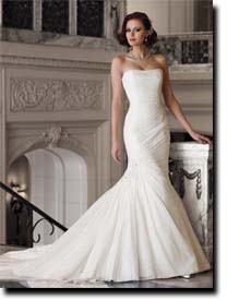 Beautiful Bride in a Strapless Wedding Gown