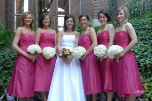 Happy Bride With Her Beautiful Bridesmaids