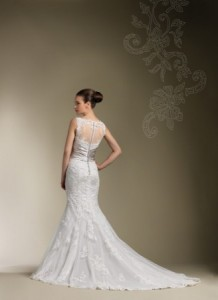 Beautiful Lace Back Wedding Gown