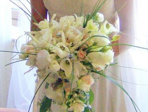 White Cascading Wedding Bouquet