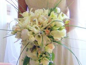 White Cascading Wedding Bouquet
