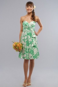Green & White Bridesmaid Dress