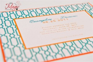 Teal & Orange Wedding Invitation
