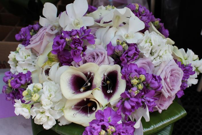 White and Purple Bride's Bouquet