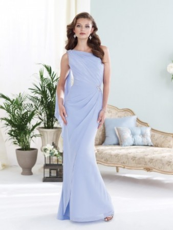 One-shoulder chiffon