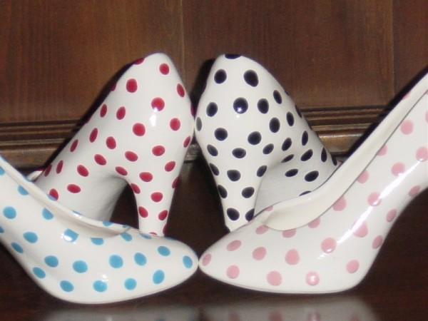 Polka dot wedding and bridal ceramic high heel vase centerpiece share