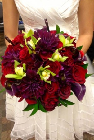 Red Purple and Lime Bride's Bouquet