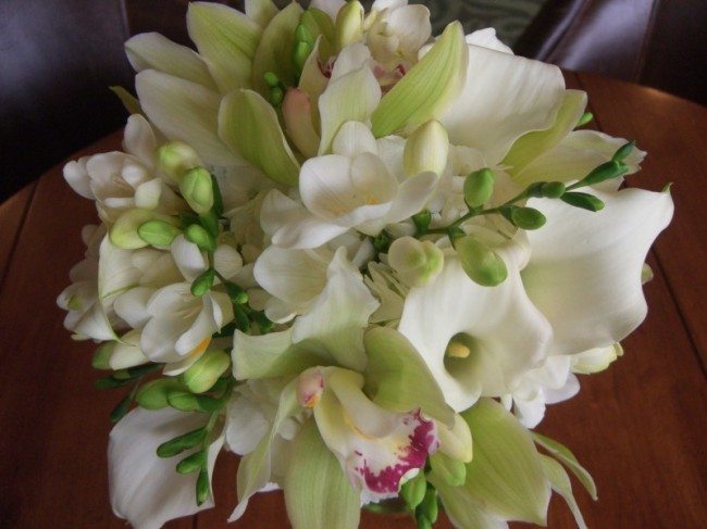 Wedding Party Photo Gallery White and Green Calla Orchid Bouquet