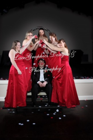 Well red along with black silver and white A very contemporary wedding