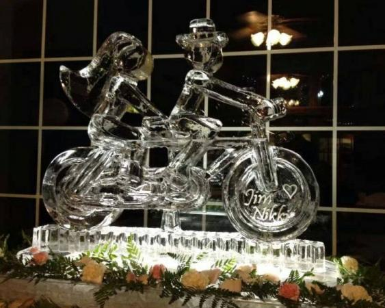 Bicycle Built for Two-Abstract Wedding Ice Sculpture
