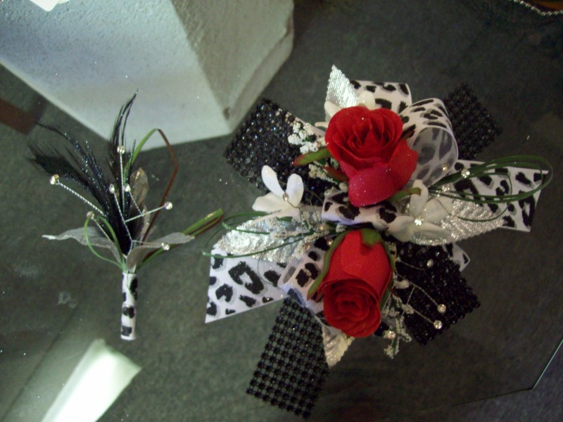 Red, Black & White Boutonniere & Corsage