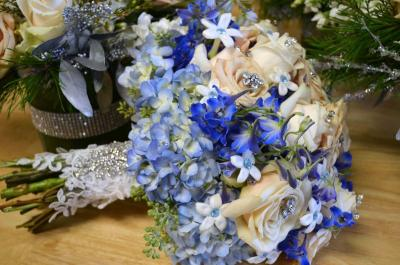 Blue Hand Tied Wedding Bouquet