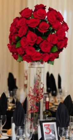 Red Rose Tall Reception Centerpiece
