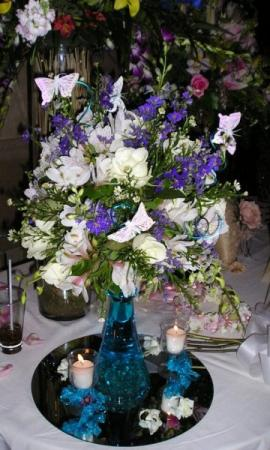 Purple & White Reception Centerpiece