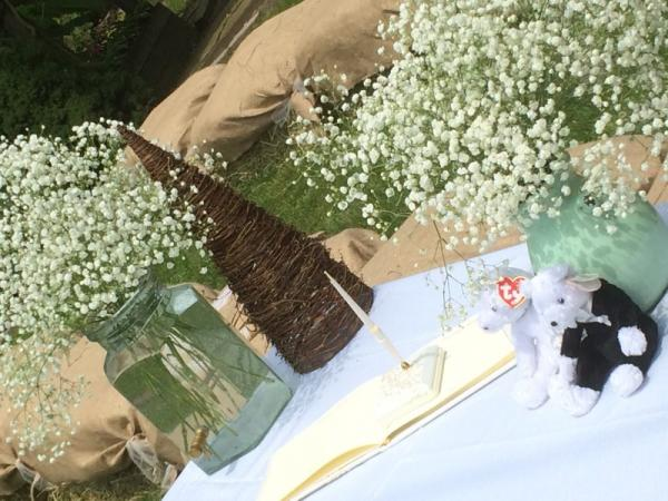 Guestbook Table with Baby's Breath