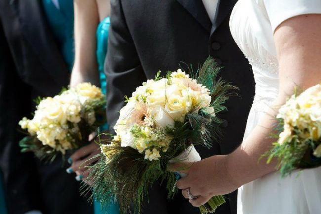 Bridal Bouquet with Peacock Feathers