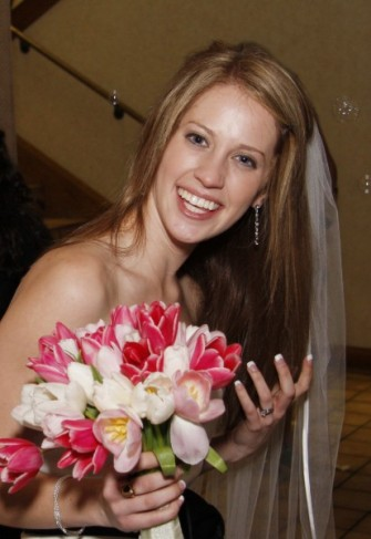 Wedding Party Photo Gallery Happy Bride With Tulip Bouquet