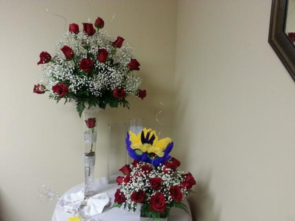 Mardi Gras Flower Arrangement