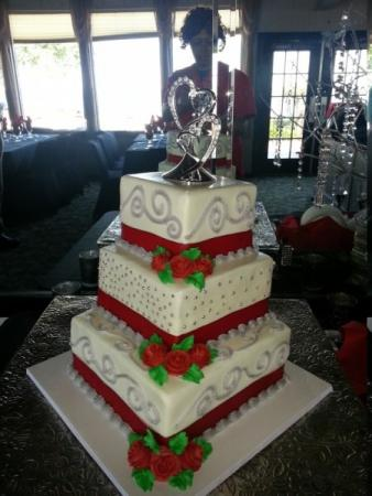 3 Tier Red & White Wedding Cake