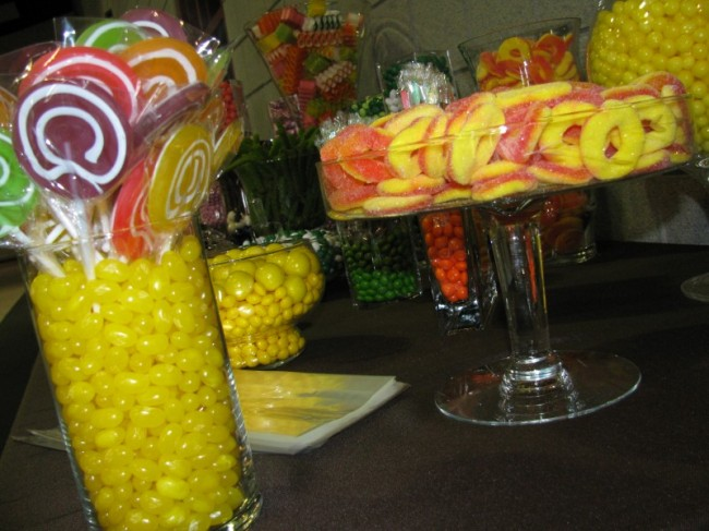 Whether outfitting your wedding reception with a candy buffet like this or