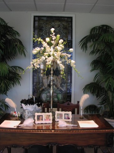 Wedding Party Photo Gallery Winter White Arrangement For SignIn Table