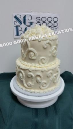 2 Tier Wedding Cake with Filigree