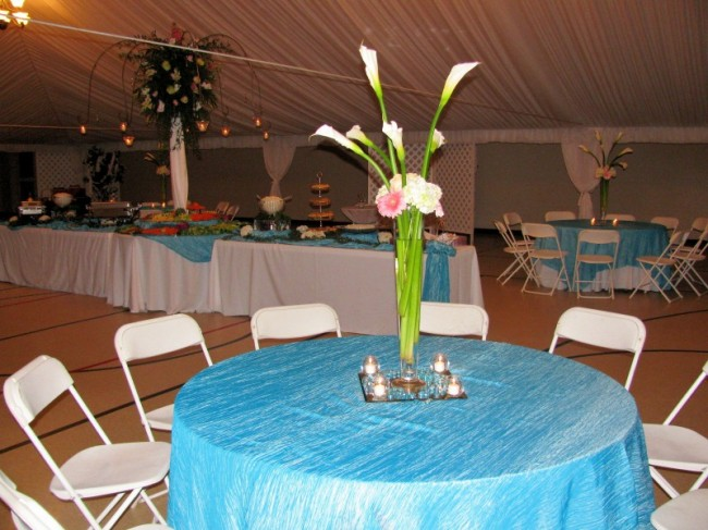 This is the nighttime version of the wedding reception Tiffany blue