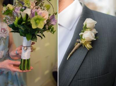 Rustic White Groom Boutonniere with Rustic Bridal Bouquet