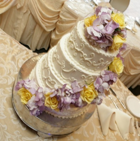 simple wedding cakes with flowers. The simple four tiered wedding