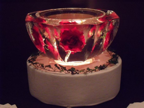 Ice Sculpture with Roses