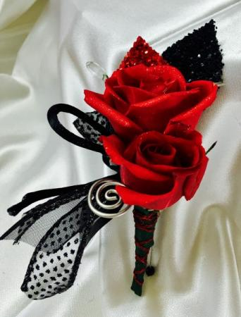 Red and Black Rose Boutineer