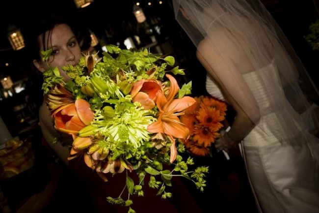 Orange & Green Bridesmaid Bouquet socialite studios