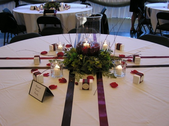 This photo highlights the unique and beautiful table setting chosen by the