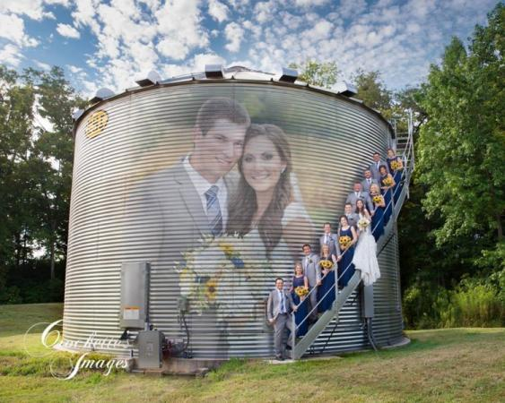 grain bin wedding party