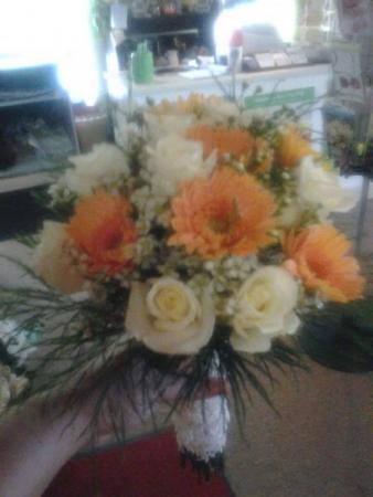 White Roses with a Hint of Orange