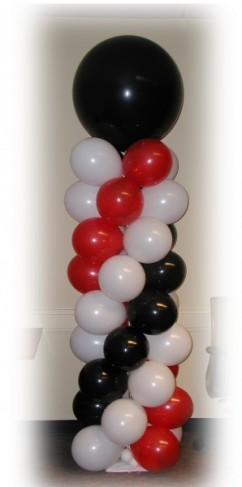 Decorations  Weddings on Photo Gallery   Black Red   White Balloon Column Photo