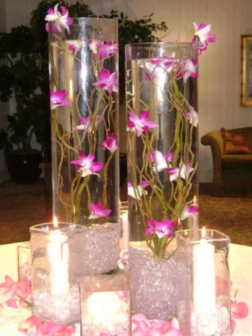Pink place card table centerpieces for Table arrangements